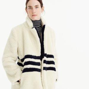 J Crew Teddy Coat in Striped Plush Fleece